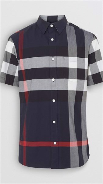 BBR Short-sleeve Check Stretch Cotton Shirt Navy (1:1)