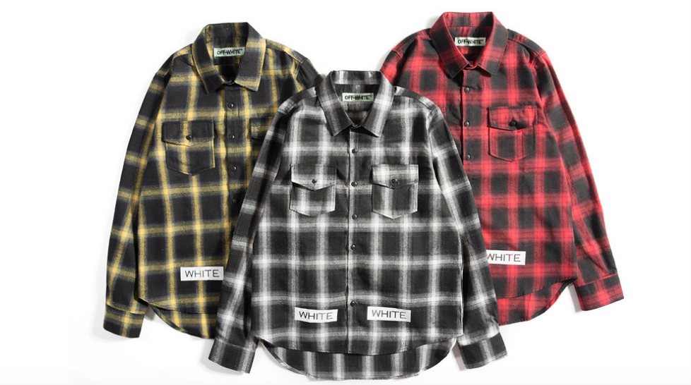 OFF-WHITE SPRAYED DIAGONALS CHECK SHIRT TEMPURATURE