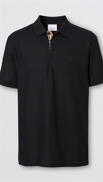 BBR Monogram Motif Cotton Piqué Polo Shirt black (1:1)