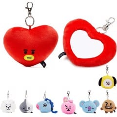 bt21 official plush mirror bag charm doll
