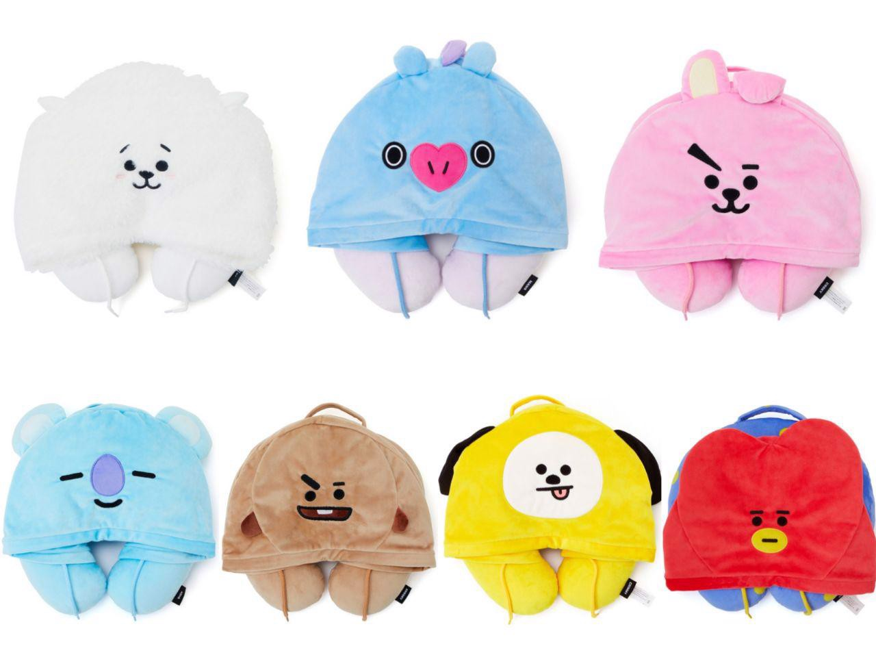 bt21 official hoodie neck pillow