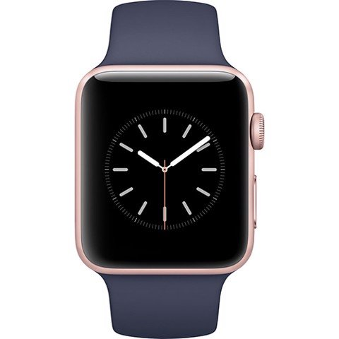 Apple Watch (38mm) Gold Aluminum Case with Midnight Blue Sport Band (MQ102)