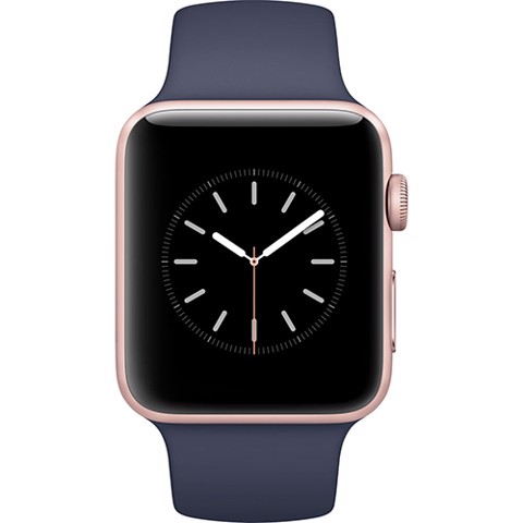 Apple Watch 42mm Gold Aluminum Case with Midnight Blue Sport Band