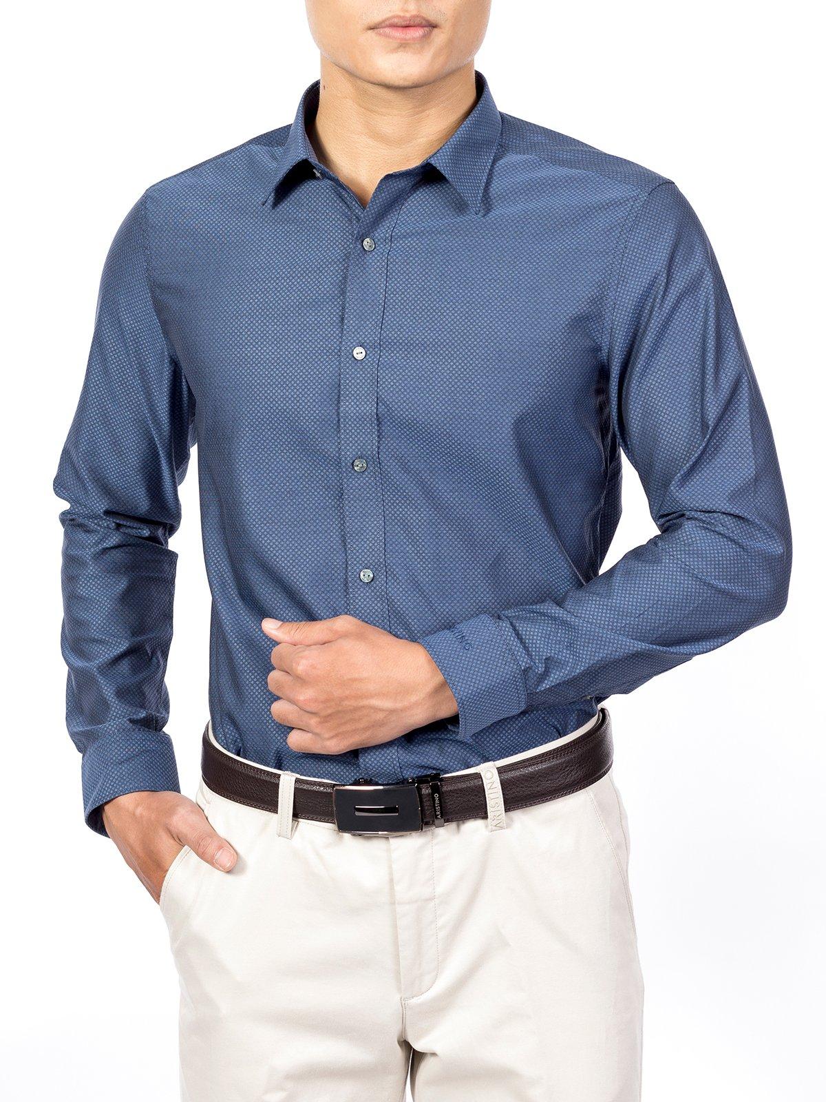 Sơ mi nam dài tay xanh dệt hoa ARISTINO ALSW17-CO01