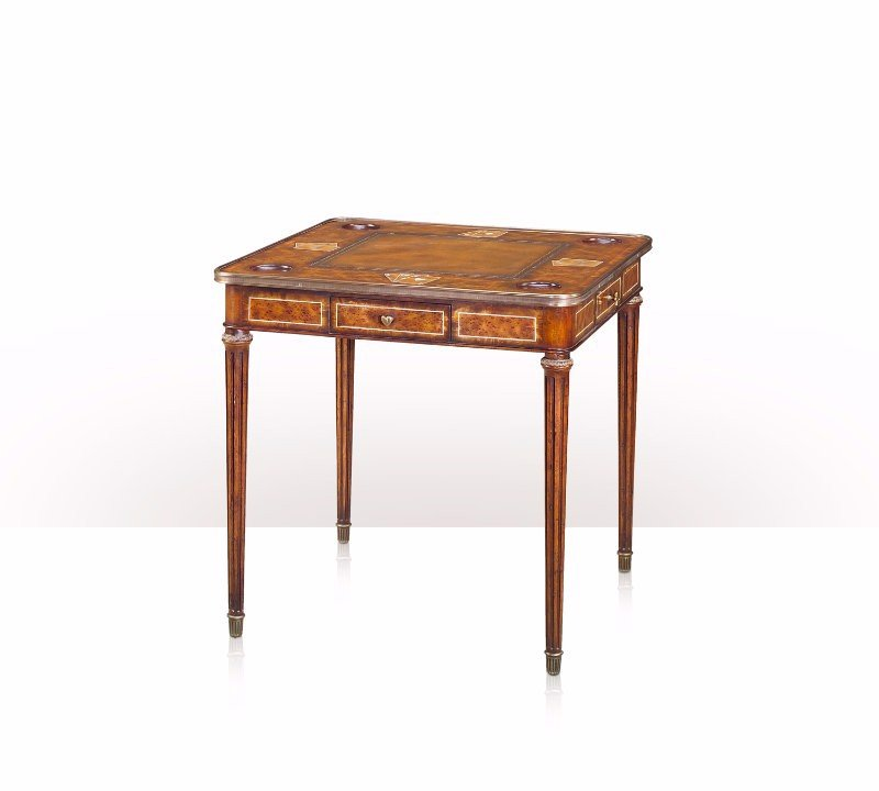 5205-058 Table - Bàn A laurel burl and flame mahogany banded card table