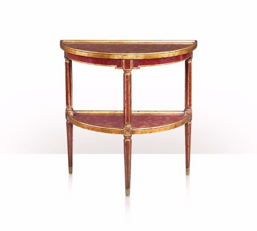 5352-010 Table - Bàn A red painted verre églomisé and gilt demi lune side table