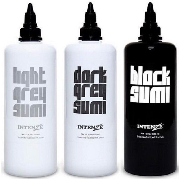 INTENZE INK - BLACK SUMI GREY WASH SET 12oz