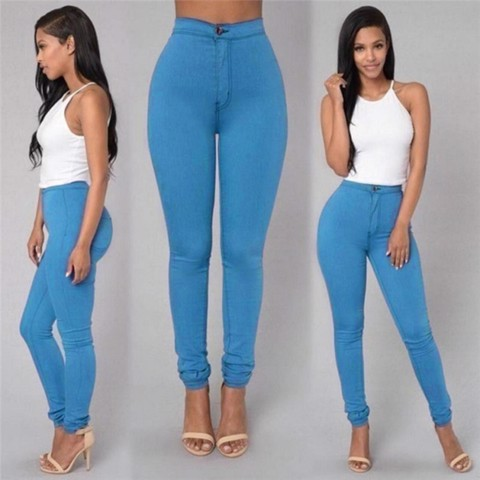 360dsc Ninth Ankle Length Women Casual Comfortable Elastic Waist Source · Women Pencil Stretch Casual Look Denim Skinny Jeans Pants High Waist Trousers Blue ...