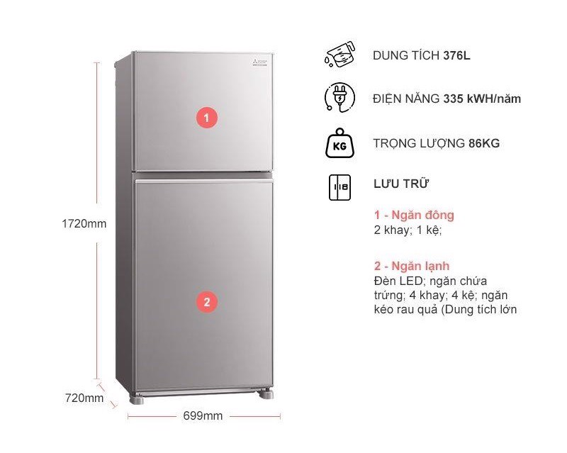 Tủ lạnh Mitsubishi Electric 376L MR-FX47EN-GSL