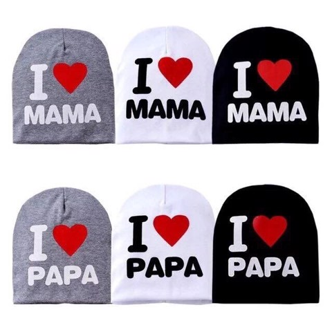 Mũ cotton I LOVE PAPA, I LOVE MAMA (65k/set 2 mũ)