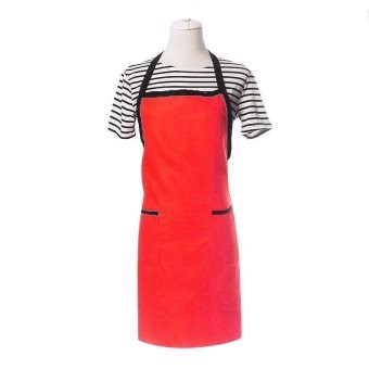 Simple Apron Home Kitchen Restaurant Bib With Pocket Feat Red - intl