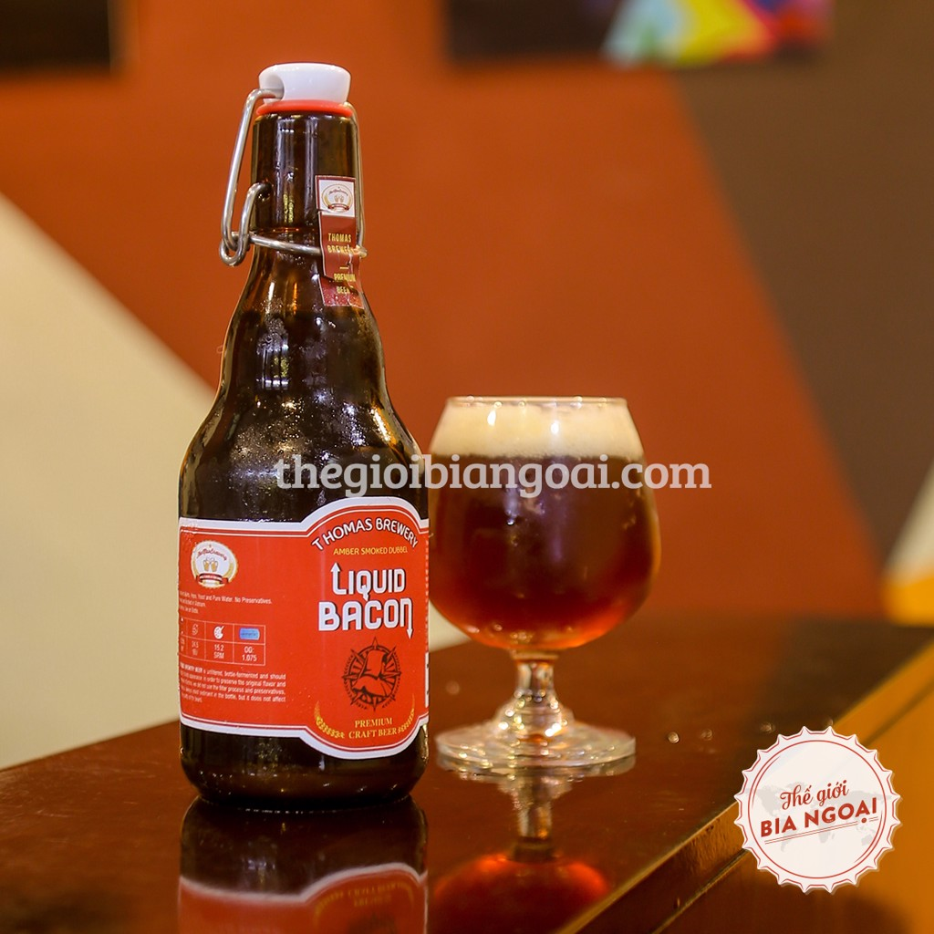 Bia THƠM Liquid Bacon, chai swing top 330ml