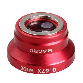 0.67x Wide Macro Lens Magnet Mount Conversion Lens for iPhone (Red) (Intl)