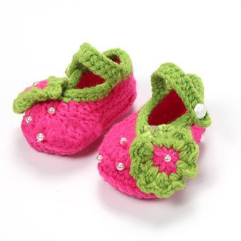 1 Pair Baby Infant Shoes Handmade Wool Knitted Crochet Newborn Bootee Flowers Shoes for 0-12 Months Baby Rosy 12 Yard