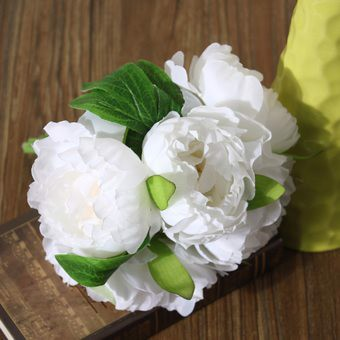 1 Bouquet Artificial Peony Silk Flowers Wedding Bridal (white) (Intl)