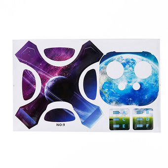 1 Full Set of Decorative PVC Sticker Skin Protector for DJJ Phantom 4 Fuselage Remote Control Blue Planet Pattern