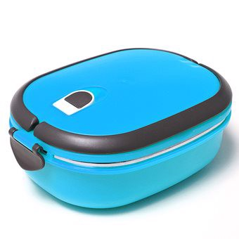 1 Layers Stainless Steel Lunch Box Picnic Storage Box Insulated Thermal (Blue) - Intl