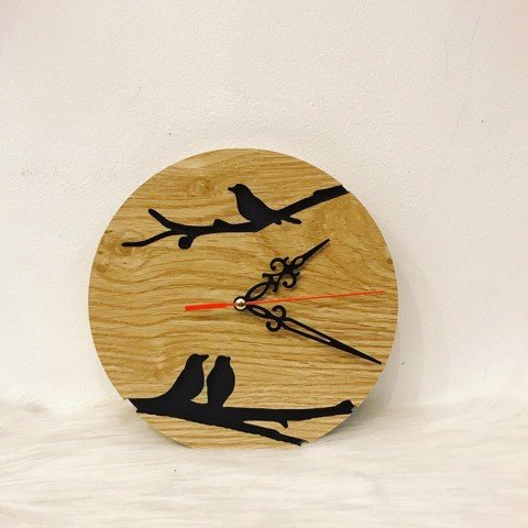 Wooden clock- three bird