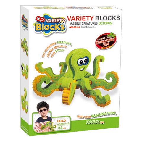 Hộp lắp ráp Puzzle 3D Bạch Tuột Variety Blocks - Marine Creatures Octopus 3122