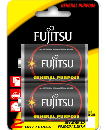 pin fujitsu r20 2b size d carbon zinc battery