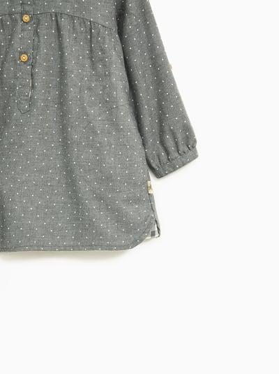 Áo Sơ Mi Zara [Girl] - Xám/Chấm Bi