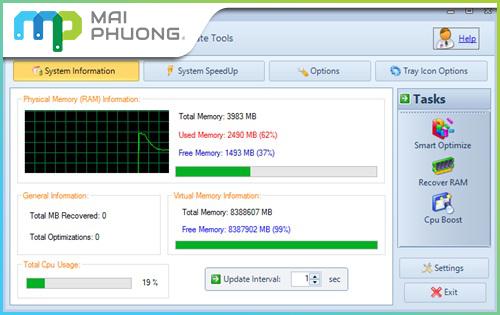 Phần mềm MZ RAM Boster giúp giải phóng tăng RAM