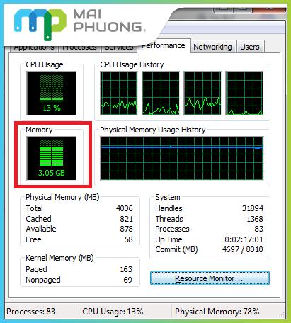 Hướng dẫn đọc thông tin số lượng RAM laptop đã sử dụng