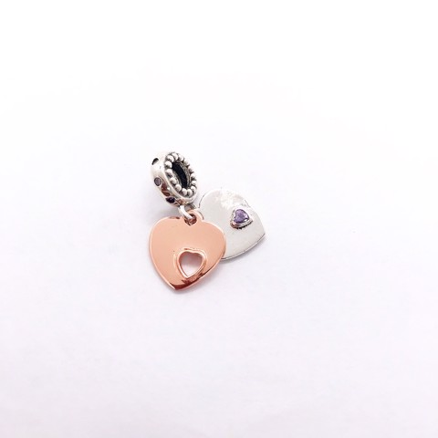 Charm Rose Gold Layers Of Heart Stone