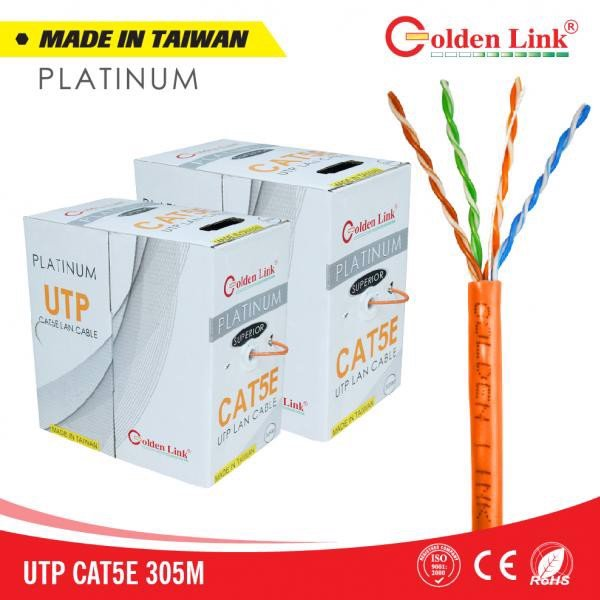 GOLDEN LINK PLATINUM UTP CAT 5E MADE IN TAIWAN MÀU CAM/TRẮNG