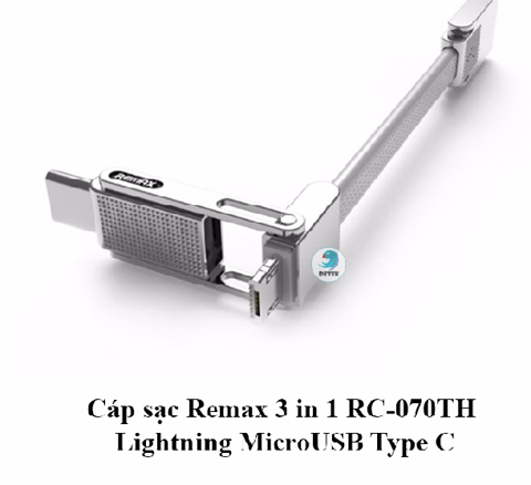 Cáp sạc Remax 3 in 1 RC-070TH Lightning MicroUSB Type C