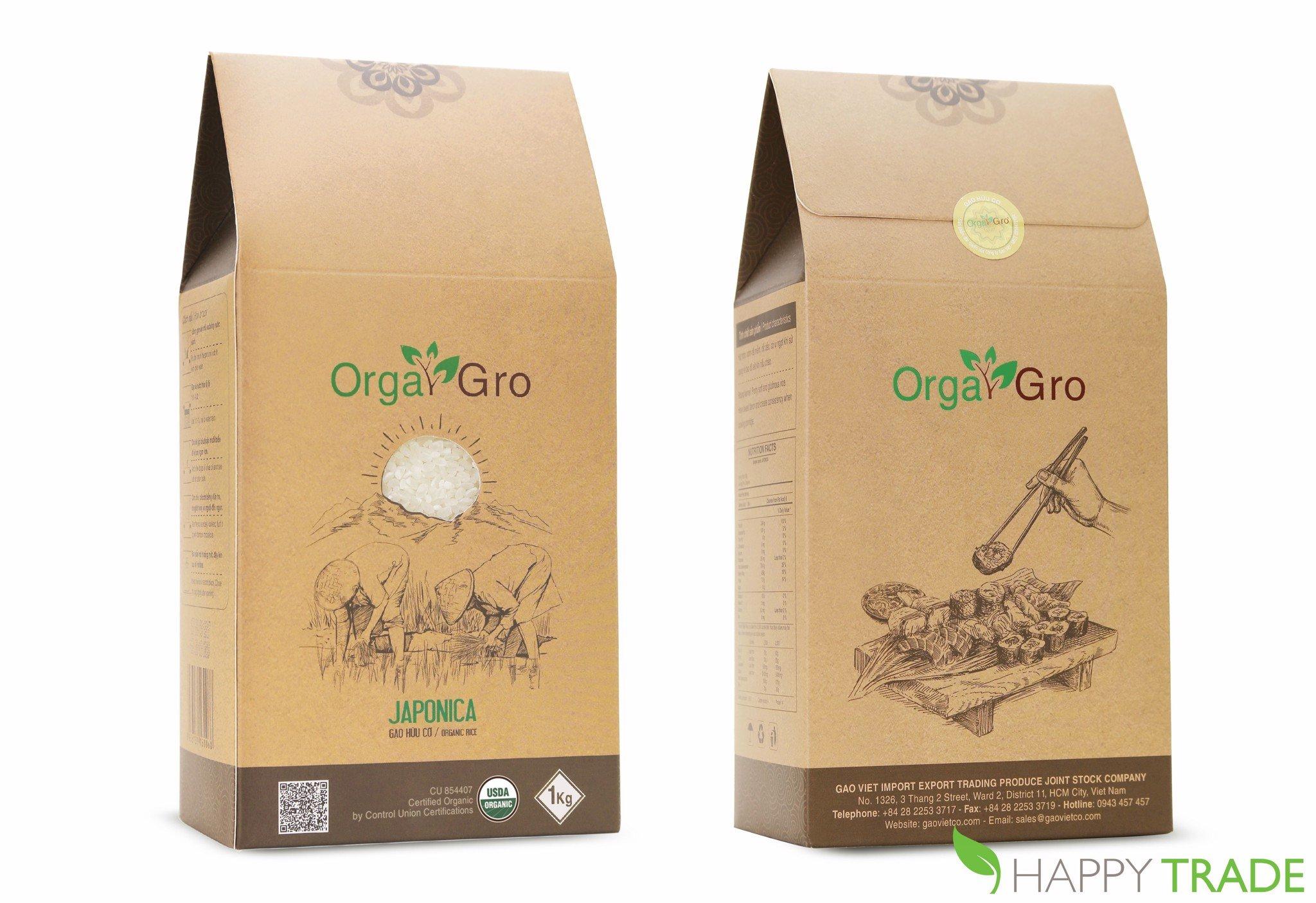 Gạo hữu cơ giống Nhật Japonica Orgagro (hạt tròn) 1kg