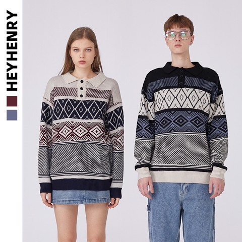 P100194 ÁO LEN HEYHENRY AUTHENTIC VINTAGE POLO KNIT SWEATER