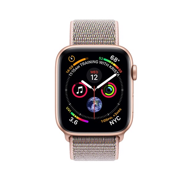 Apple Watch S4 GPS Gold Aluminum Case with Pink Sand Sport Loop