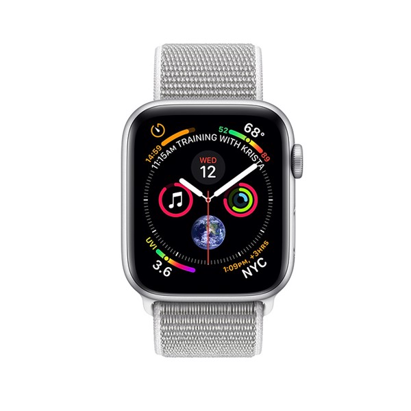 Apple Watch S4 GPS+Cellular Silver Aluminum Case with Seashell Sport Loop