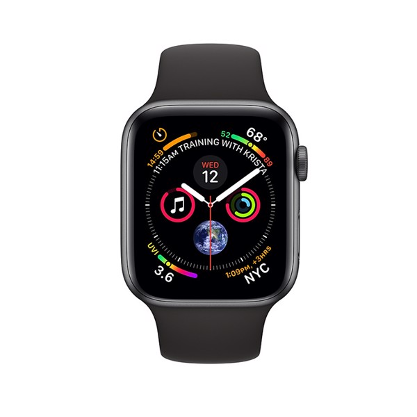 Apple Watch S4 GPS Space Gray Aluminum Case with Black Sport Band