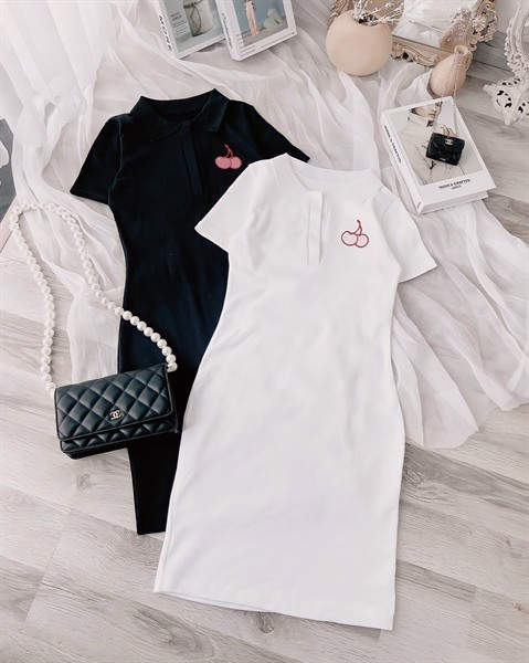 Đầm polo cherry