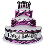 Pink birthday cake foil balloon