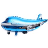 Blue airplane foil balloon-large