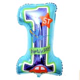Blue number 1 birthday foil balloon 40cm