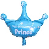 Blue crown prince foil balloon