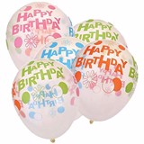 Transparent Happy birthday balloons 6/pack