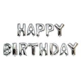 Silver happy Birthday foil balloon set
