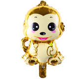 Yellow monkey with flower foil balloon