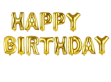 Gold happy Birthday foil balloon set