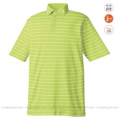 Áo Golf Lisle Stripe Solid Placket Collar FJ 20459 | Bright Lime + White