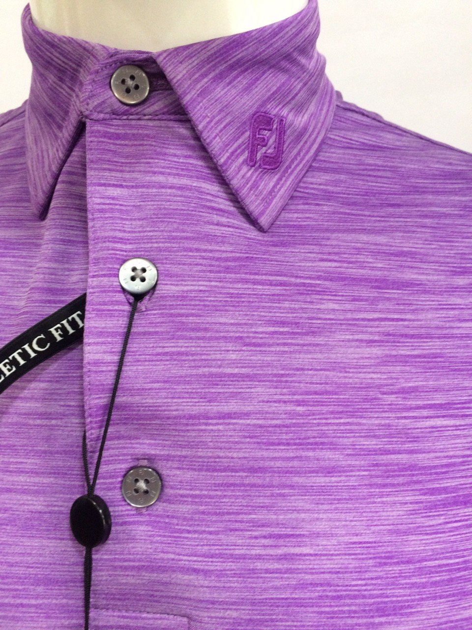 Áo golf nam tay ngắn Space Dye Lisle, Self Collar 22453 Violet | FootJ