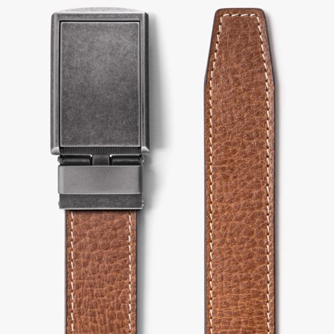 Thắt lưng da Full Grain Contrast Stitching Bourbon / Graphite | SLIDEBELTS