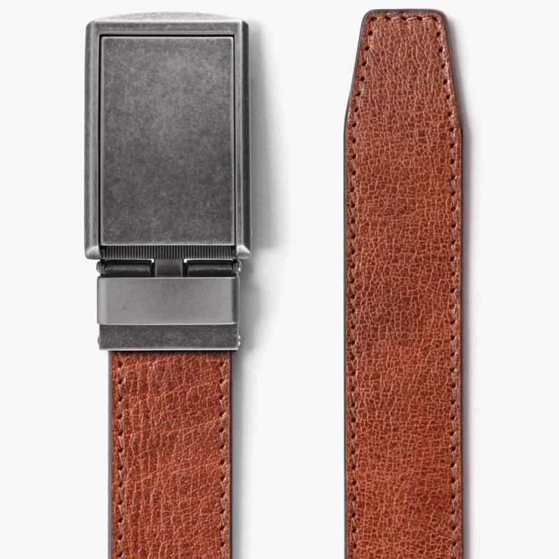 Thắt lưng da Full Grain Rustic Cayenne with Graphite Buckle | SLIDEBEL