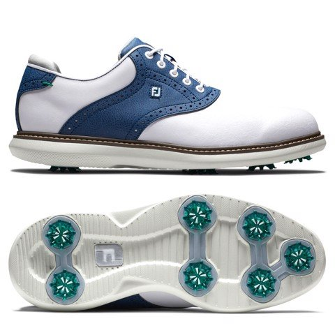 Giày golf nam Traditions 57901 Extra Wide, Spiked, Trắng Xanh | FootJoy