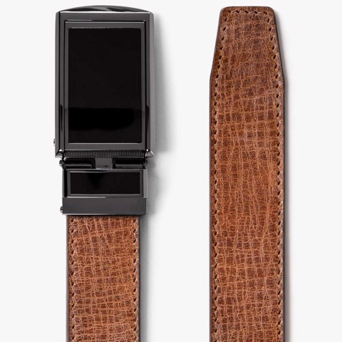 Thắt lưng da Full Grain Rustic Hickory with Black Buckle | SLIDEBELTS